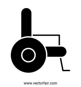 side view of wheelchair icon, silhouette style