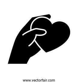 hand holding a heart icon, silhouette style