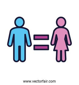 feminism concept, equality symbol of pictogram man and woman icon, line and fill style