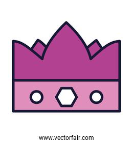 queen crown icon, line and fill style