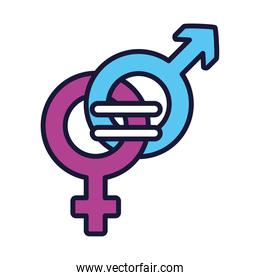 feminism concept, equality symbol of female and male gender symbols, line and fill style