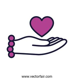 female hand with heart icon, line and fill style