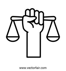 feminism concept, hand holding a scale icon, line style