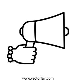 feminism concept, female hand holding a megaphone icon, line style