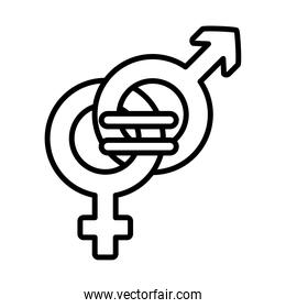 feminism concept, equality symbol of female and male gender symbols, line style