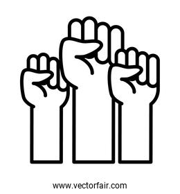 feminism concept, fists of women up, line style