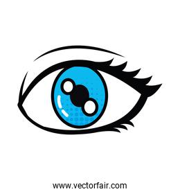 pop art elements concept, open eye icon, line and fill style