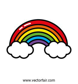 pop art elements concept, clouds and rainbow icon, line and fill style
