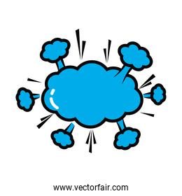 pop art elements concept, cloud burst icon, line and fill style