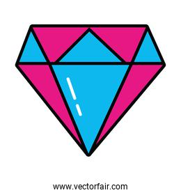 pop art elements concept, diamond gem icon, line and fill style