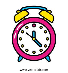 pop art elements, alarm clock icon, line and fill style