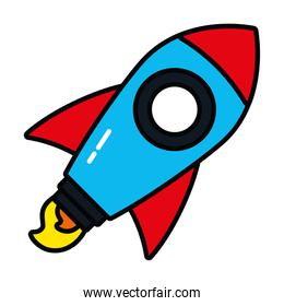 pop art elements concept, rocket icon, line and fill style