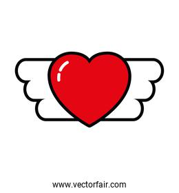 pop art elements, heart with wings icon, line and fill style