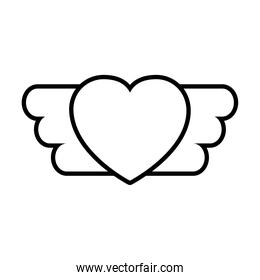 pop art elements, heart with wings icon, line style