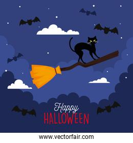 happy halloween banner with cat in witch broom flying