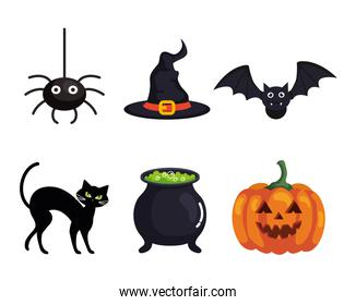 set icons of happy halloween