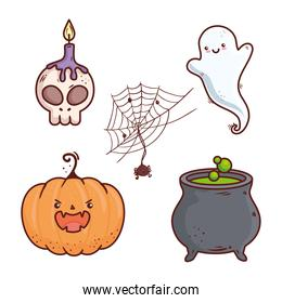 icons set of happy halloween celebration