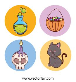 set icons of happy halloween in round frame