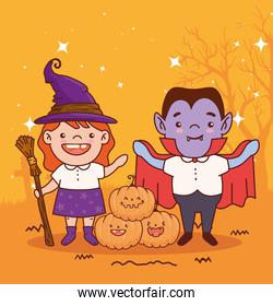 children disguised of witch and count dracula for happy halloween celebration