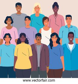 crowd of people together multi ethnic, diversity and multiculturalism concept