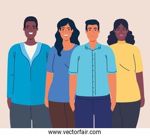 multiethnic women and men together, diversity and multiculturalism concept