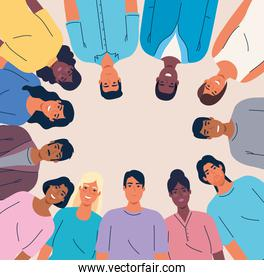 multiethnic united people together, diversity and multiculturalism concept