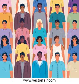 crowd people together multi ethnic, diversity and multiculturalism concept