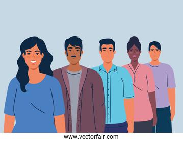 multiethnic men and women together, diversity and multiculturalism concept