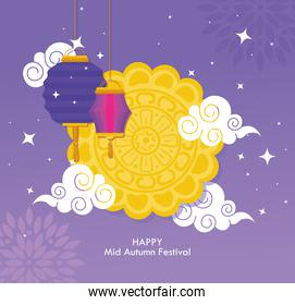 chinese mid autumn festival with mooncake, clouds and lanterns hanging