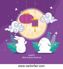 chinese mid autumn festival with rabbits and lanterns hanging