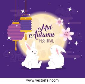 chinese mid autumn festival with rabbits, flowers and lanterns hanging