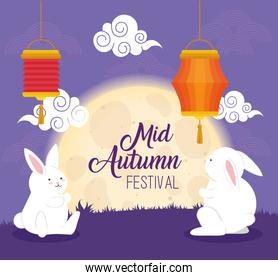 chinese mid autumn festival and rabbits, moon, clouds and lanterns hanging