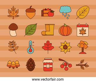 autumn season weather icons set stickers line and fill