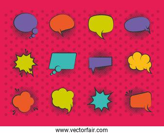 pop art retro comic empty speech bubbles, halftone style flat icons set red background