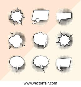 pop art retro comic empty speech bubbles, background line style icons set