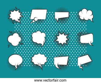 pop art retro comic empty speech bubbles, line style icons set green background