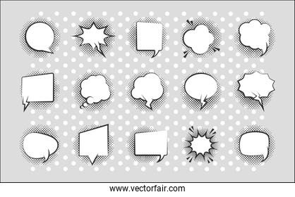 pop art retro comic empty speech bubbles, line style icons collection