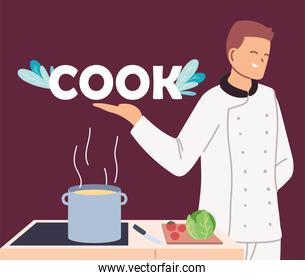 young man cook with stove and ingredients