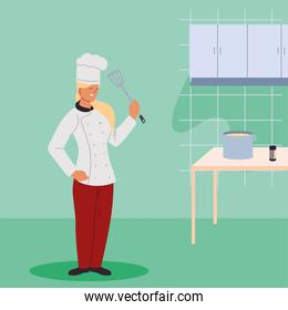 woman chef with elements of kitchen