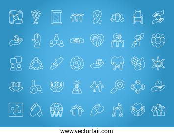 icon set of inclusion, line style