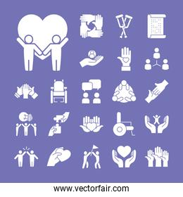 icon set of inclusion and hearts, silhouette style