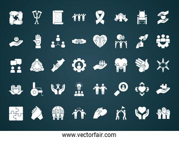 icon set of inclusion, silhouette style