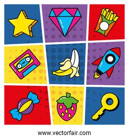icon set of diamond and pop art elements, line and fill style