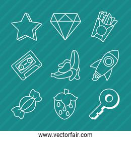 icon set of diamond and pop art elements, line style