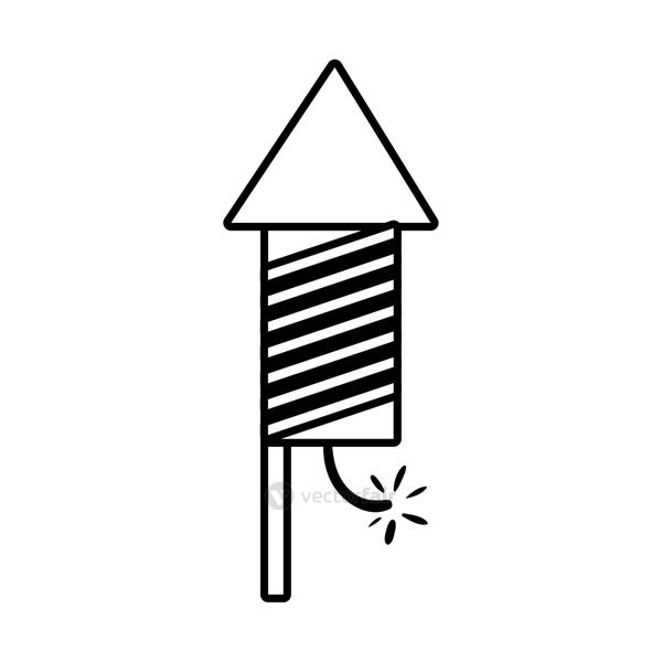 diwali rocket firework with lines line style icon