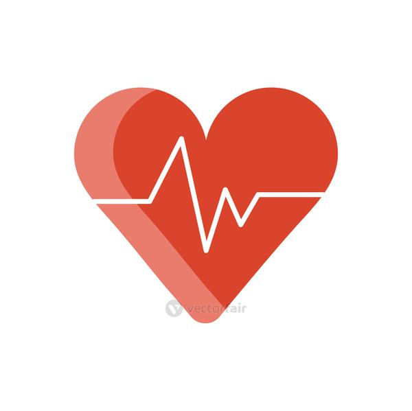medical heart cardiology pulse flat icon