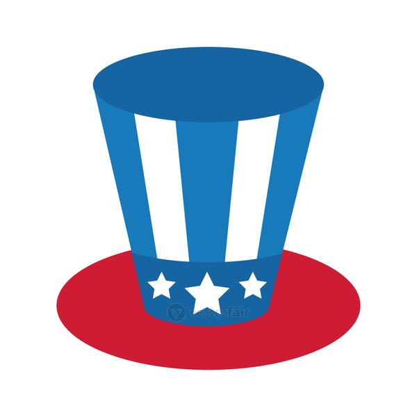 usa elections flag in hat flat style icon