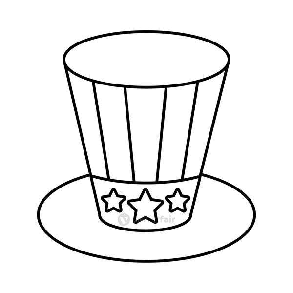 usa elections flag in hat line style icon