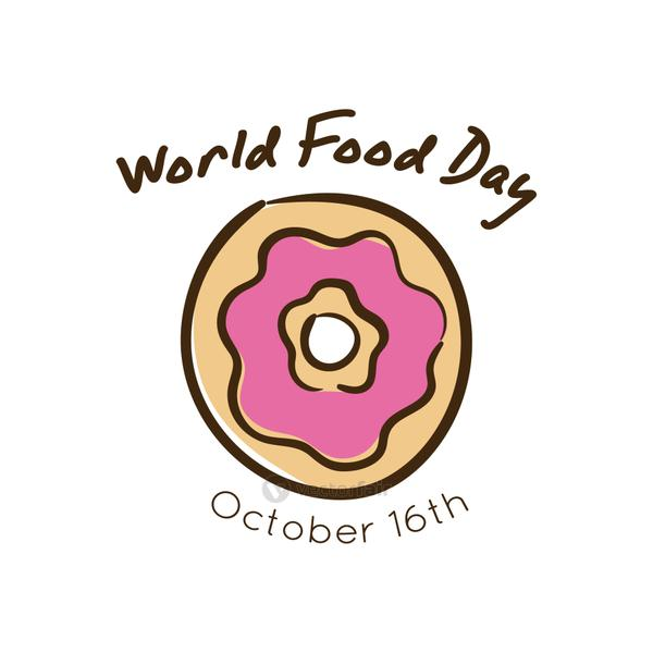 world food day celebration lettering with donut flat style