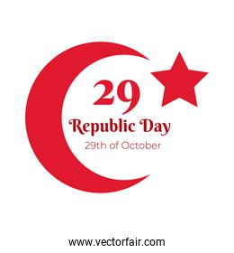 cumhuriyet bayrami celebration day with 29 number and moon flat style